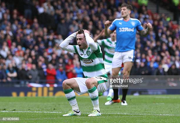 Patrick Roberts of Celtic reacts after missing a chance during the William Hill Scottish Cup semi final between Rangers and Celtic at Hampden Park on...