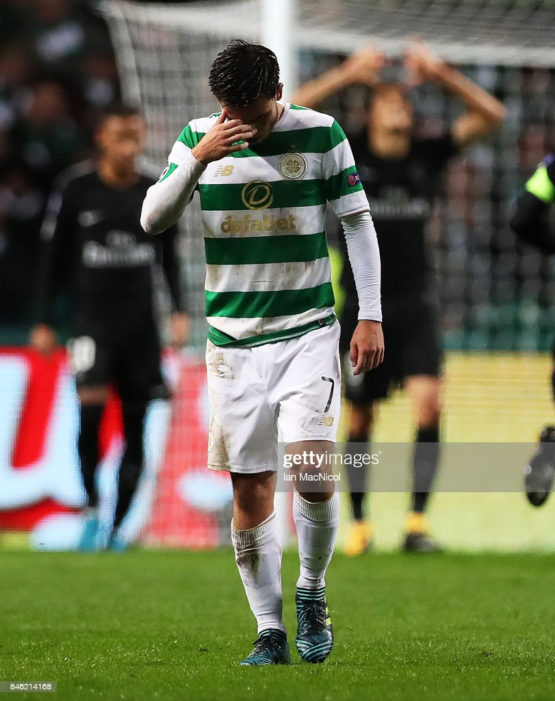 Patrick Roberts of Celtic reacts during the UEFA Champions League Group B match Between Celtic and Paris Saint-Germain at Celtic Park on September 12, 2017 in Glasgow, Scotland.