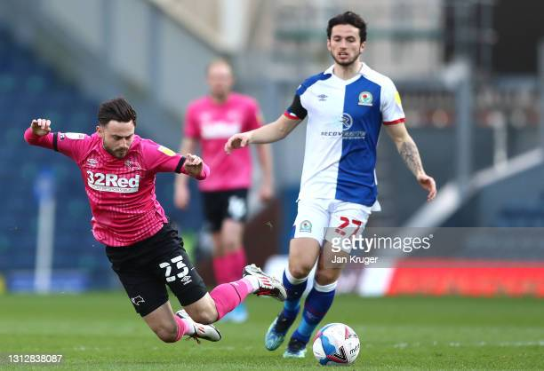 Patrick Roberts of Derby County is tackled during the Sky Bet Championship match between Blackburn Rovers and Derby County at Ewood Park on April 16,...