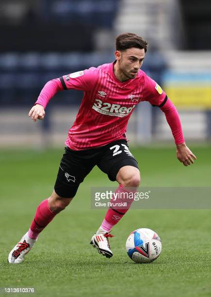 Patrick Roberts of Derby County runs with the ball during the Sky Bet Championship match between Preston North End and Derby County at Deepdale on...
