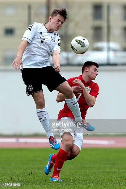 Patrick Roberts of England challenges Niclas Bahn of Germany during the Under17 Algarve Cup between U17 England and U17 Germany at Lagos sport...