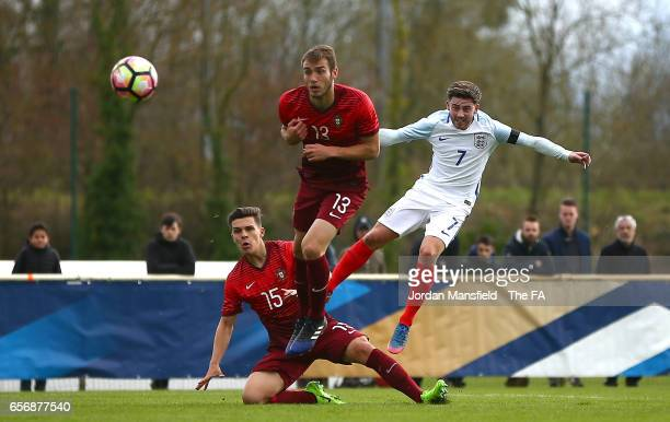 Patrick Roberts of England scores his sides second goal during the UEFA U20 International Friendly match between England and Portugal at Stade de...