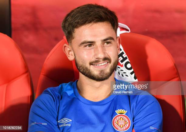 Patrick Roberts of Girona FC looks on during the La Liga match between Girona FC and Real Valladolid CF at Montilivi Stadium on August 17 2018 in...