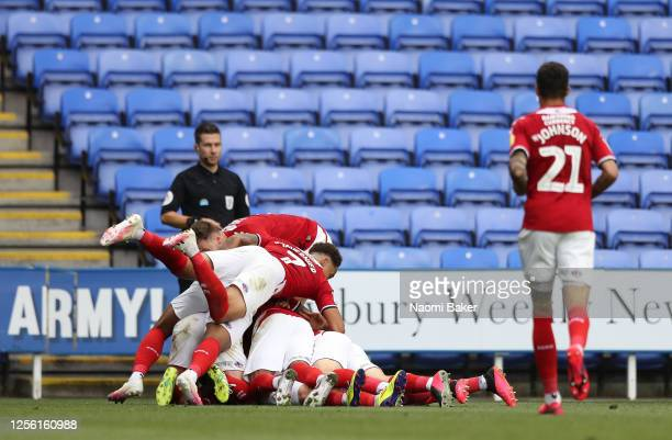 Patrick Roberts of Middlesbrough is congratulated by team mates after scoring during the Sky Bet Championship match between Reading and Middlesbrough...