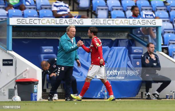 Patrick Roberts of Middlesbrough is is substituted by manager Neil Warnock during the Sky Bet Championship match between Reading and Middlesbrough at...