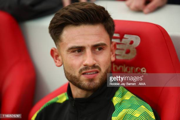 Patrick Roberts of Norwich City during the Premier League match between Liverpool FC and Norwich City at Anfield on August 9, 2019 in Liverpool,...