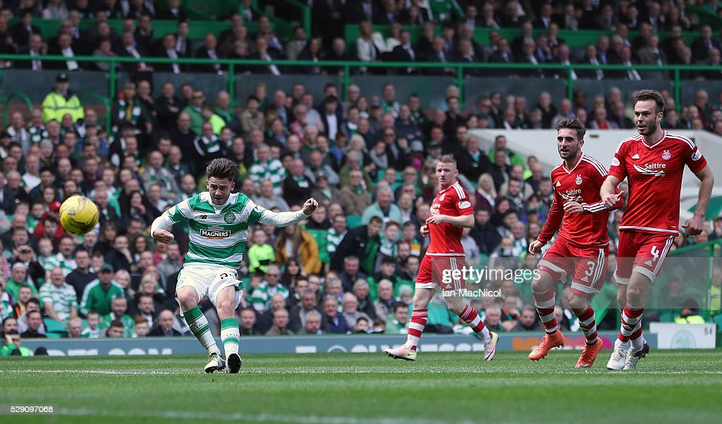 Patrick Roberts scores his second goal of the game during the Ladbroke Scottish Premiership match between Celtic and Aberdeen at Celtic Park on May 8, 2016 in Glasgow, Scotland.