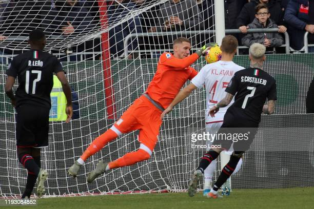 Patrick Robin Olsen of Cagliari in action during the Serie A match between Cagliari Calcio and AC Milan at Sardegna Arena on January 11 2020 in...
