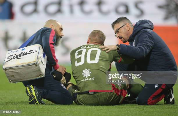 Patrick Robin Olsen of Cagliari injured during the Serie A match between Cagliari Calcio and AS Roma at Sardegna Arena on March 1 2020 in Cagliari...