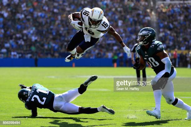 Patrick Robinson and Jordan Hicks of the Philadelphia Eagles defend against Tyrell Williams of the Los Angeles Chargers on a pass play during the...