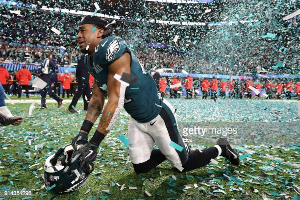 Patrick Robinson of the Philadelphia Eagles celebrates after defeating the New England Patriots 4133 in Super Bowl LII at US Bank Stadium on February...