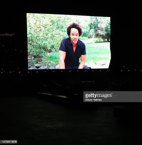 """Patrick Robinson speaks at the private outdoor screening of """"The Times of Bill Cunningham"""" Outdoor Screening at Pier 17 on August 31, 2020 in New..."""