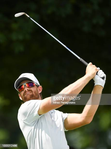 Patrick Rodgers hits a tee shot from the seventh during the practice rounds at the RBC Canadian Open at Glen Abbey Golf Club on July 25 2018 in...
