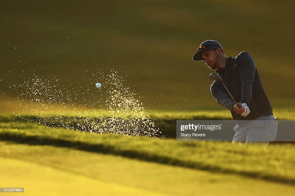 Patrick Rodgers of the United States hits his third shot from a green side bunker during the first round of the Honda Classic at PGA National Resort & Spa - Champions Course on February 25, 2016 in Palm Beach Gardens, Florida.