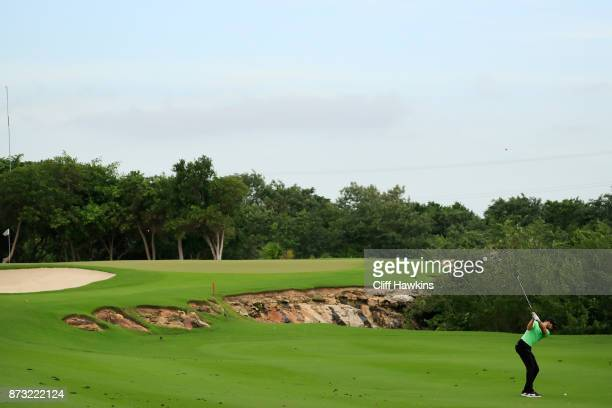 Patrick Rodgers of the United States plays a shot on the sixth hole during the continuation of the third round of the OHL Classic at Mayakoba on...