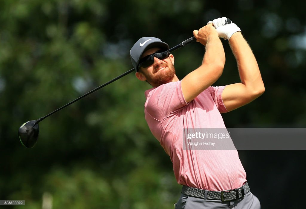Patrick Rodgers of the United States plays his shot from the tenth tee during round one of the RBC Canadian Open at Glen Abbey Golf Club on July 27, 2017 in Oakville, Canada.