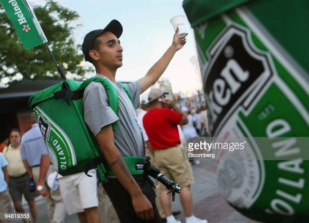Patrick Rodriguez sells cups of Heineken from a backpack keg during the US Open at the Billie Jean King National Tennis Center in New York US Sunday...