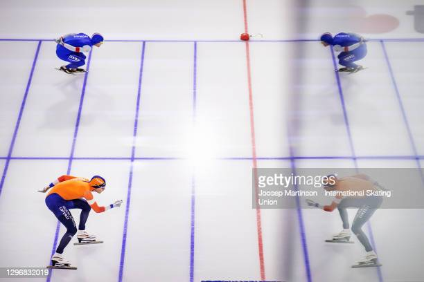 Patrick Roest of Netherlands and Sverre Lunde Pedersen of Norway compete in the Men's 1500m Allround during the ISU European Speed Skating...