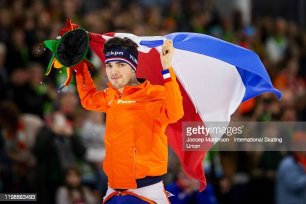 Patrick Roest of Netherlands celebrates in the Men's 5000m during day 2 of the ISU European Speed Skating Championships at ice rink Thialf on January...