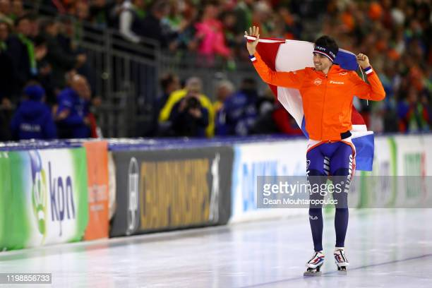 Patrick Roest of Netherlands celebrates winning the gold medal after he competes in the 5000m Men Final during the ISU European Speed Skating...