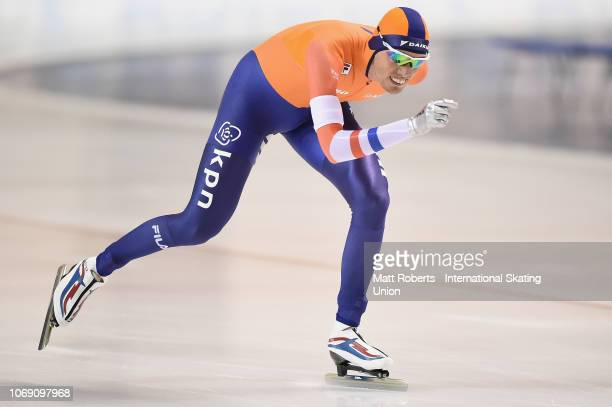Patrick Roest of Netherlands competes during the Men's 5000m Division A race on day three of the ISU World Cup Speed Skating at Meiji HokkaidoTokachi...