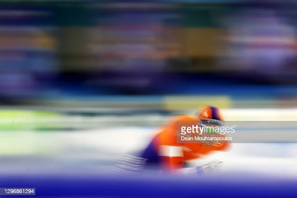 Patrick Roest of Netherlands competes in the 10000m Mens Allround during the ISU European Speed Skating Championships at Thialf Stadium on January...