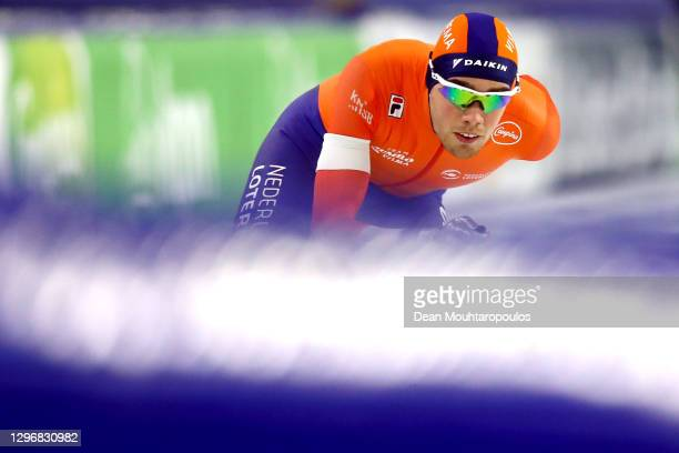 Patrick Roest of Netherlands competes in the 1500m Mens Allround race during the ISU European Speed Skating Championships at Thialf Stadium on...