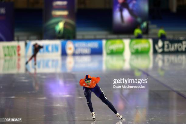 Patrick Roest of Netherlands competes in the 5000m Mens Final during Day Three of the ISU World Cup Speed Skating at Thialf Stadium on January 24,...