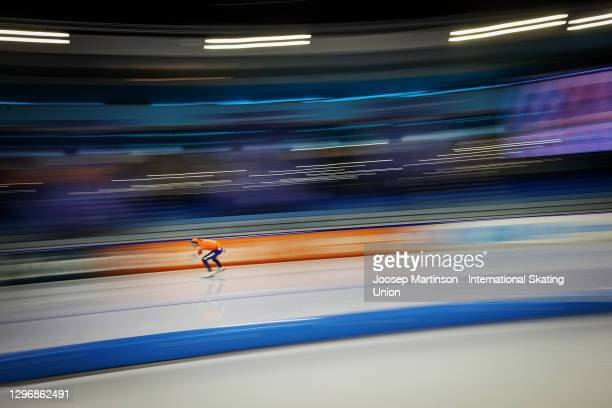 Patrick Roest of Netherlands competes in the Men's 10000m Allround during the ISU European Speed Skating Championships at Thialf on January 17, 2021...