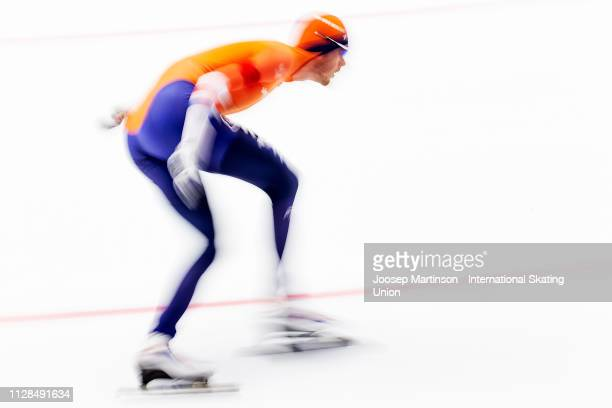 Patrick Roest of Netherlands competes in the Men's 10000m during day 3 of the ISU World Single Distances Speed Skating Championships at Max Aicher...