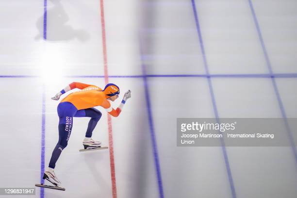 Patrick Roest of Netherlands competes in the Men's 1500m Allround during the ISU European Speed Skating Championships at Thialf on January 17, 2021...