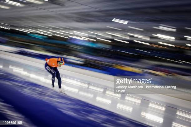Patrick Roest of Netherlands competes in the Men's 5000m Allround during the ISU European Speed Skating Championships at Thialf on January 16, 2021...