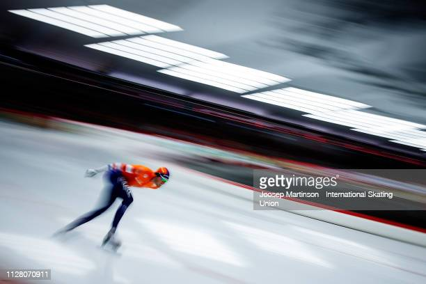 Patrick Roest of Netherlands competes in the Men's 5000m during day 1 of the ISU World Single Distances Speed Skating Championships at Max Aicher...