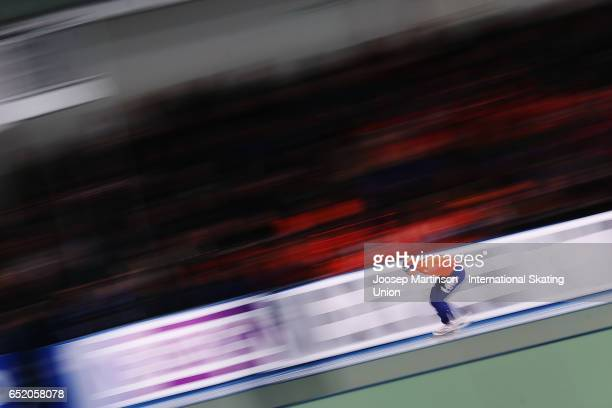 Patrick Roest of Netherlands competes in the Men's 5000m during day 1 of the ISU World Cup Speed Skating at Soermarka Arena on March 11, 2017 in...