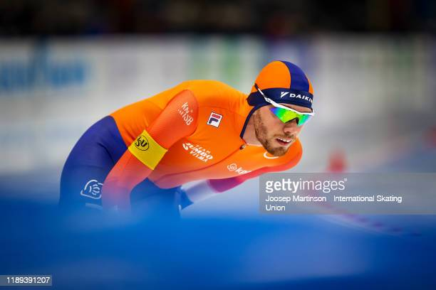 Patrick Roest of Netherlands competes in the Men's 5000m during ISU World Cup Speed Skating at Tomaszow Mazoviecki Ice Arena on November 22, 2019 in...