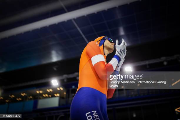 Patrick Roest of Netherlands prepares in the Men's 10000m Allround during the ISU European Speed Skating Championships at Thialf on January 17, 2021...