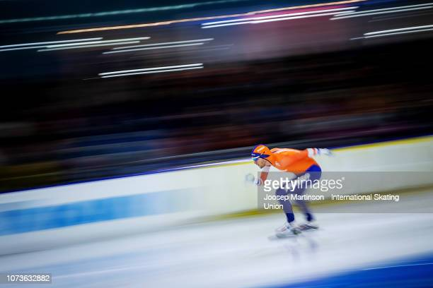 Patrick Roest of Netherlands prepares in the Men's 1500m during ISU World Cup Speed Skating Heerenveen at Thialf on December 15, 2018 in Heerenveen,...