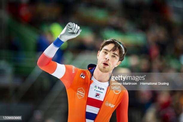 Patrick Roest of Netherlands reacts in the Men's 10000m Allround during the Combined ISU World Sprint World Allround Speed Skating Championships at...