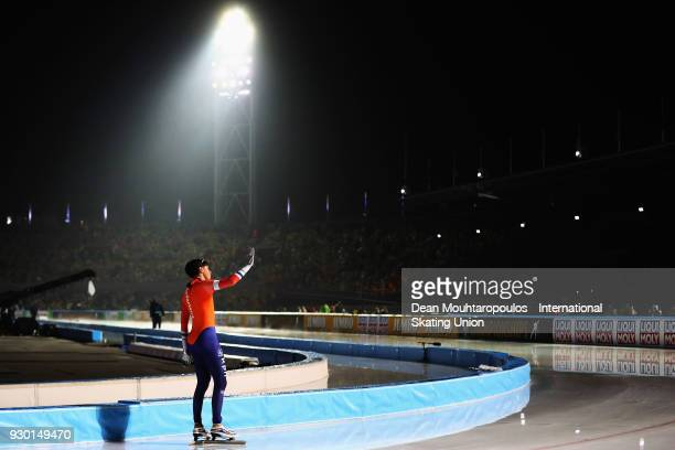 Patrick Roest of the Netherlands celebrates after he competes in the 5000m Mens race during the World Allround Speed Skating Championships at the...