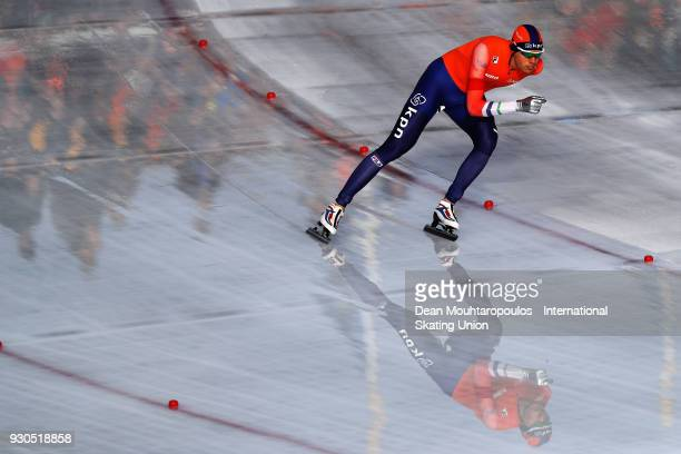 Patrick Roest of the Netherlands competes in the 10000m Mens race during the World Allround Speed Skating Championships at the Olympic Stadium on...