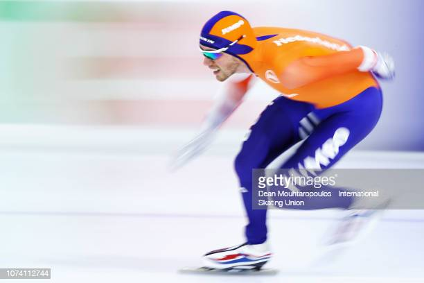 Patrick Roest of the Netherlands competes in the 3000m Mens race during the ISU Speed Skating Long Track World Cup at the Thialf Ice Arena on...