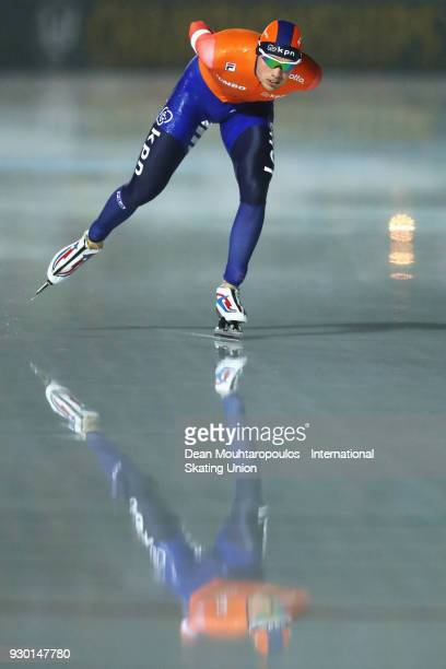 Patrick Roest of the Netherlands competes in the 5000m Mens race during the World Allround Speed Skating Championships at the Olympic Stadium on...