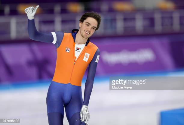Patrick Roest of the Netherlands salutes the crowd during the Men's 1500m Speed Skating on day four of the PyeongChang 2018 Winter Olympic Games at...