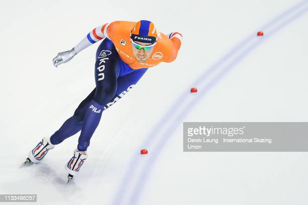 Patrick Roest skates in the men's 1500m during the ISU World Allround Speed Skating Championships Calgary on Day 2 at the Olympic Oval on March 3,...