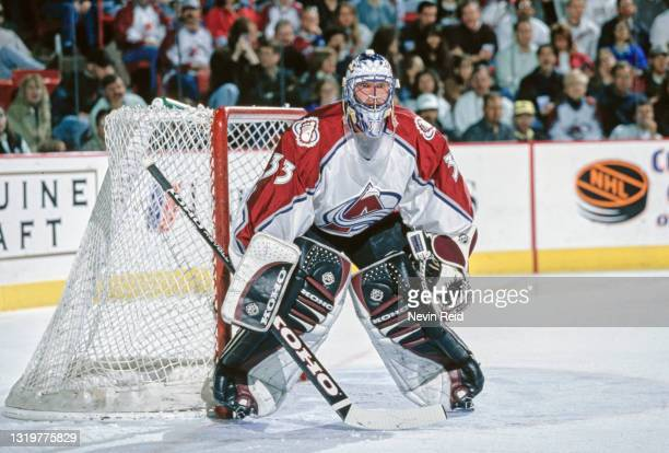 Patrick Roy, Goalkeeper for the Colorado Avalanche tends goal during the NHL Western Conference Northwest Division game against the Phoenix Coyotes...