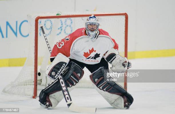 Patrick Roy goaltender for Canada during the Bronze medal game against Finland in the Men's Ice Hockey tournament on 21 February 1998 during the...