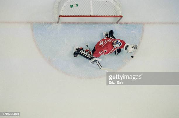 Patrick Roy goaltender for Canada during the Group D game against Sweden in the Men's Ice Hockey tournament on 14 February 1998 during the XVIII...