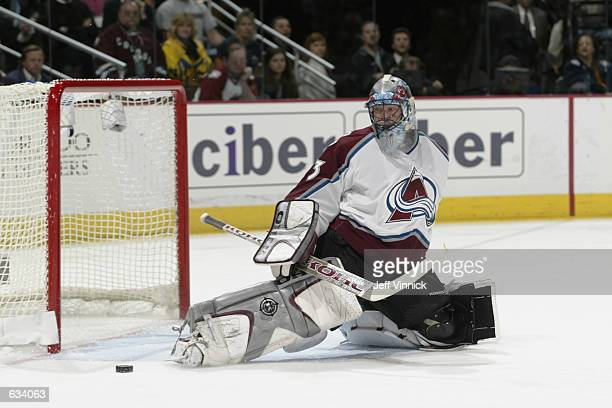 Patrick Roy of the Colorado Avalanche makes a toe save off a Detroit Red Wings shot during game six of the Western Conference finals of the Stanley...