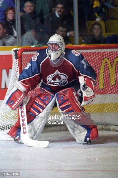 Patrick Roy of the Colorado Avalanche prepares for a shot against the Toronto Maple Leafs during game action on December 11 1995 at Maple Leaf...