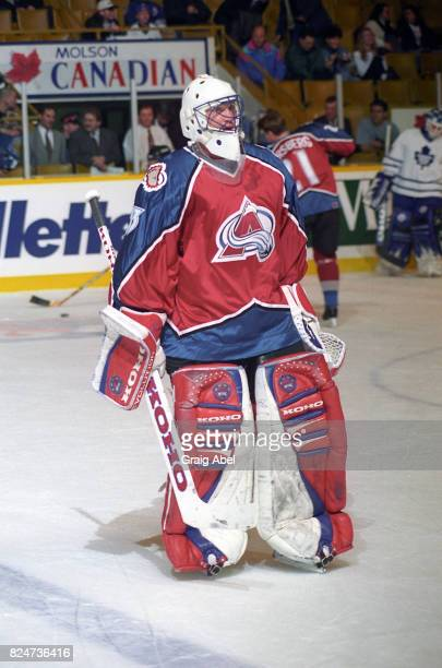 Patrick Roy of the Colorado Avalanche skates in warmup prior to a game against the Toronto Maple Leafs during game action on December 11 1995 at...